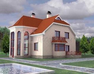 Дом 14.2 м × 13.5 м c мансардной крышей
