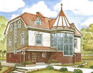 Дом 14.5 м × 10.1 м c мансардной крышей