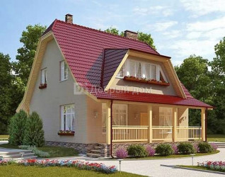 Дом 9.2 м × 9.1 м c мансардной крышей