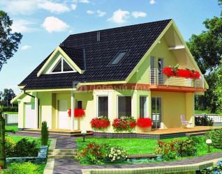 Дом 12.3 м × 9.5 м c двускатной крышей
