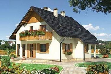 Дом 11.8 м × 10.5 м c двускатной крышей