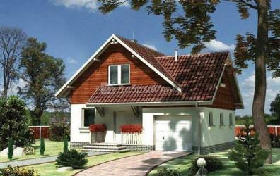 Дом 12.8 м × 10.7 м c двускатной крышей