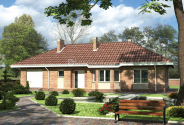 Дом 19.3 м × 17.8 м c четырехскатной крышей