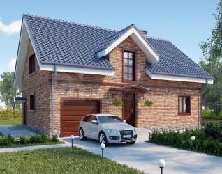 Дом 13.05 м × 9.46 м c двускатной крышей